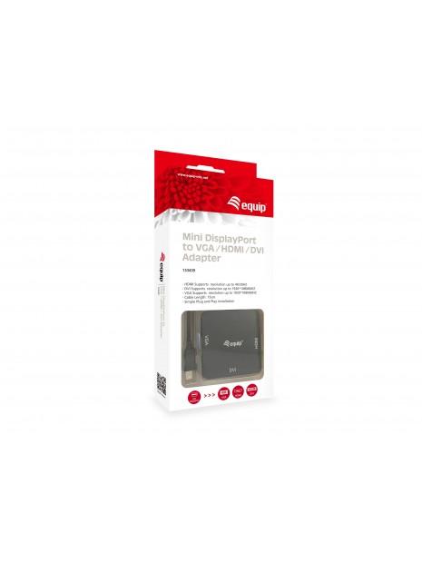 Equip 133439 adaptador de cable de vídeo 0,15 m Mini DisplayPort DVI-D + VGA (D-Sub) + HDMI Negro
