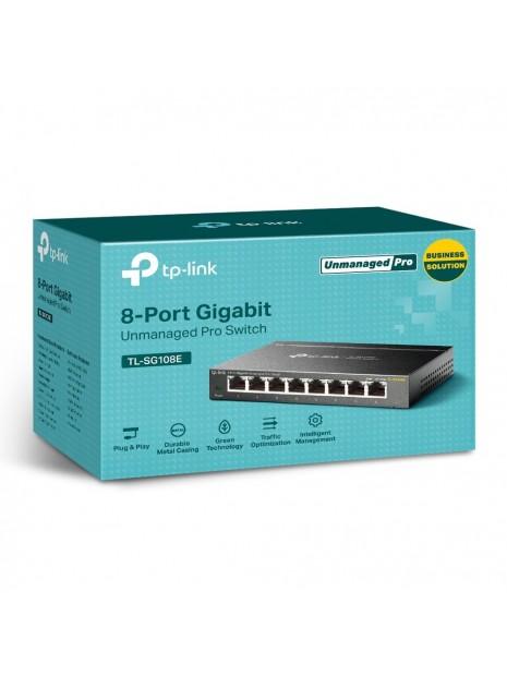 TP-LINK TL-SG108E switch No administrado L2 Gigabit Ethernet (10 100 1000) Negro