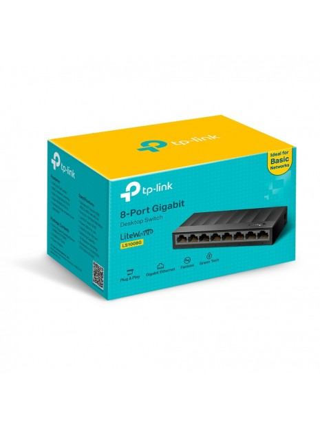TP-LINK LS1008G switch No administrado Gigabit Ethernet (10 100 1000) Negro