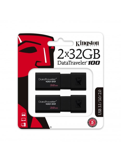 Kingston Technology DataTraveler 100 G3 unidad flash USB 32 GB USB tipo A 3.2 Gen 1 (3.1 Gen 1) Negro