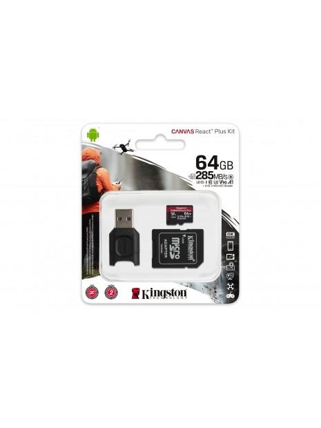 Kingston Technology Canvas React Plus memoria flash 64 GB MicroSD Clase 10 UHS-II