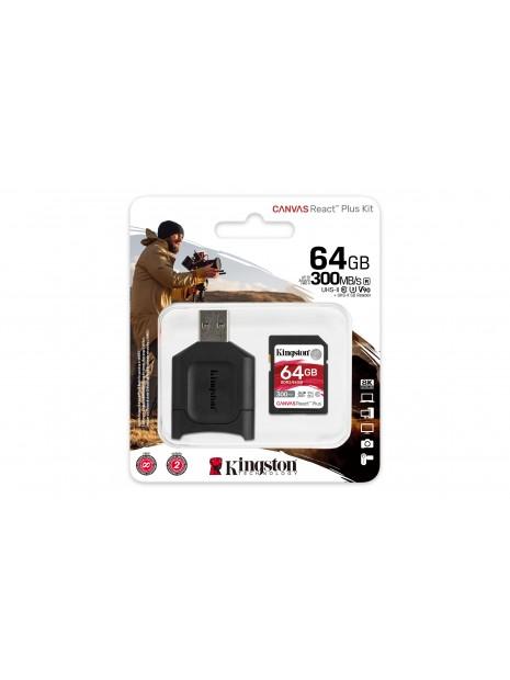 Kingston Technology Canvas React Plus memoria flash 64 GB SD Clase 10 UHS-II