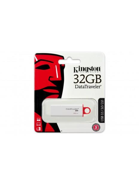 Kingston Technology DataTraveler G4 unidad flash USB 32 GB USB tipo A 3.2 Gen 1 (3.1 Gen 1) Rojo, Blanco