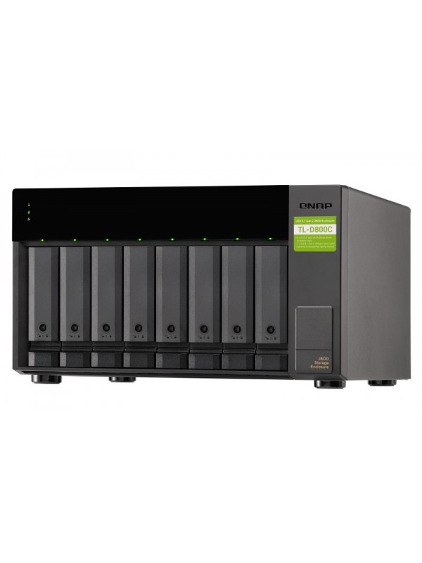 "QNAP TL-D800C caja para disco duro externo 2.5 3.5"" Carcasa de disco duro SSD Negro, Gris"