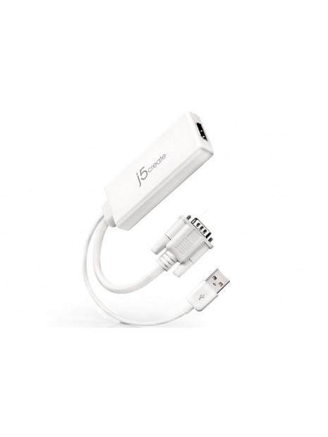 j5create JDA214 adaptador de cable VGA, USB A HDMI Blanco